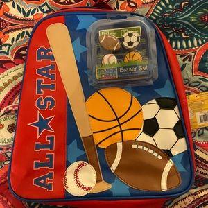 Stephen Joseph backpack and matching eraser set.